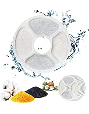 QIUQIU Fountain Filter, Fountain Filter Triple Action for Cat Fountain Replacement with High-Intensity Cotton, Charcoal for Water Fountain 2-2.5L (6 PCS)