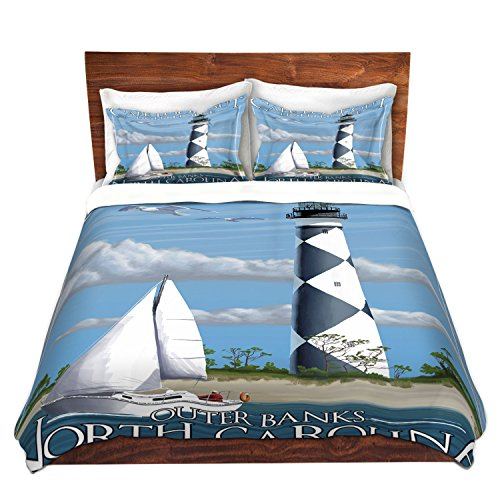 Duvet Cover Brushed Twill Twin, Queen, King SETs DiaNoche Designs By Lantern Press - Outer Banks NC Lighthouse Bedroom and Bedding Ideas