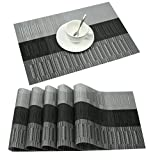 Famibay Bamboo PVC Weave Placemats Non-slip Table Mats for Kitchen Table Set of 6-30x45 cm (Set of 6 Black)