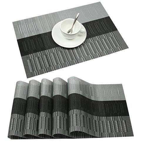 famibay Bamboo PVC Weave Placemats Non-Slip Table Mats for Kitchen Table Set of 6-30×45 cm (Set of 6 Black)