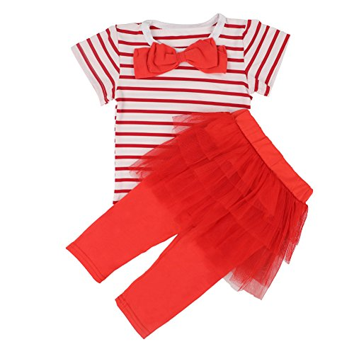Okgirl Cute Toddler Little Girl Clothing 2pcs Outfits Stripe Bowknot T-shirt+pants