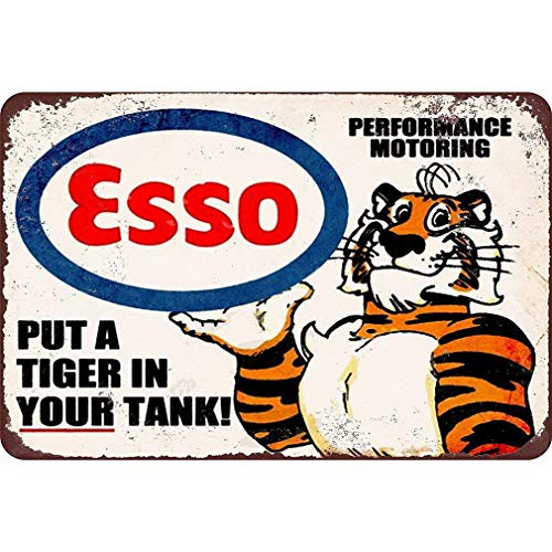 Uptell Esso Put a Tiger in Your Tank, Metal Tin Sign, Wall Decorative Garage Sign 12x16 inch