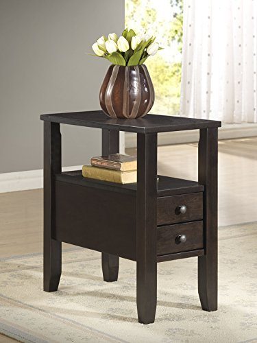 Cappuccino Finish Side End Table with Drawers