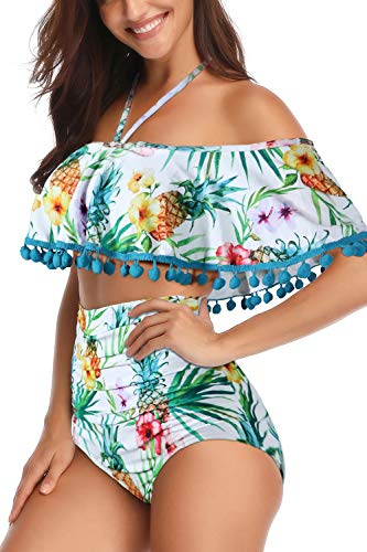Heat Move Women High Waisted Tassel Flounce Off Shoulder Swimsuit (S, Pineapple)