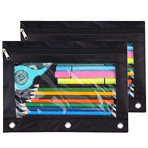 Pencil Pouch 3 Ring, Zipper Pencil Pouches Case Binder Cosmetic Bag Black 2 - Case Ring Binders 3