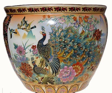 Satsuma Painted Peacock Planter