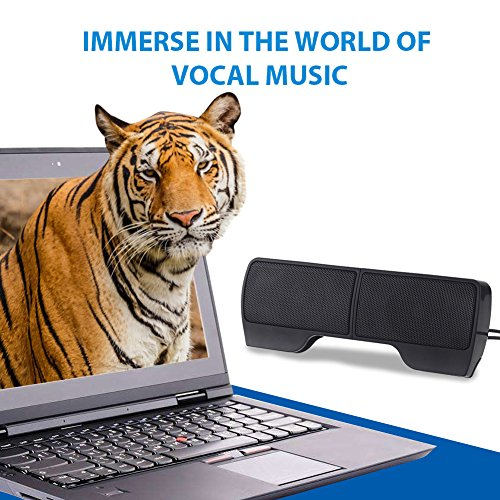 ELENKER Portable Clip-On USB Powered Speaker Stereo Multimedia Speaker, Mini USB Speakers for Laptop Notebook Computer PC Phone Tablets by ELENKER (Image #3)