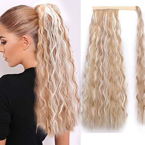 Stamped Glorious Long Wave Ponytail Extension Synthetic Wrap Around Ponytail Extensions Mixed Blonde Color Corn Wavy Magic Paste Ponytail Hair Piece for Women (24H613#) -