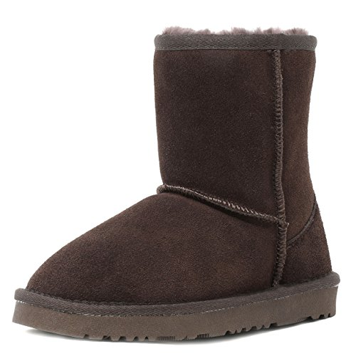 Image of DREAM PAIRS Boys & Girls Toddler/Little Kid/Big Kid Shorty-k Winter Snow Sheepskin Fur Boots