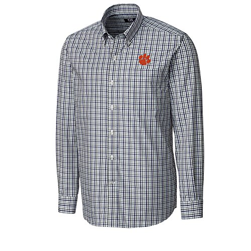 Cutter & Buck NCAA Clemson Tigers Men's Long Sleeve Gilman Plaid Shirt, X-Large, College Purple