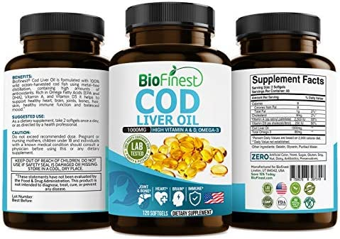 Biofinest Cod Liver Oil Capsules 1000 mg - Metal-Free Ocean-Harvested Arctic Cod Fish Liver Oil Supplement - with Vitamin A & D, Omega 3 - for Brain, Joint, ...