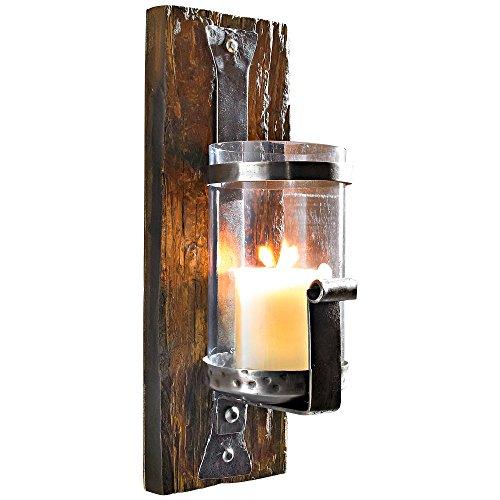 Wandkerzenhalter Wood rustikal Pinienholz Eisen Braun
