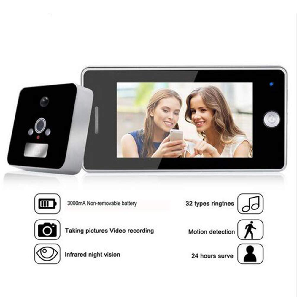 JFW-4.3 Inch LCD Color Screen 3000mAh Smart Door Camera Motion Detect Video Recording Door Peephole Viewer Camera Video-Eye