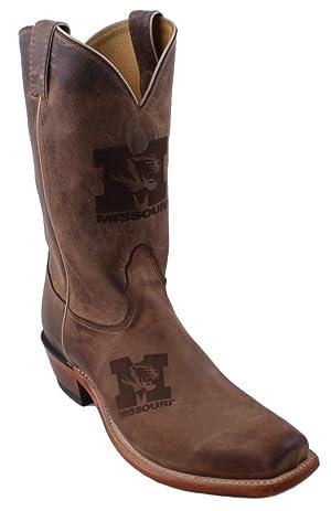 Nocona MDUM12L03 Mens Missouri University Brown Cowhide Branded College Boots