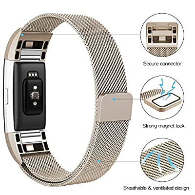 """Swees Fitbit Charge 2 Bands Metal Small & Large (5.5"""" - 9.9""""), 2 Packs Milanese Stainless Steel Magnetic Replacement Wristband for Fitbit Charge 2 Women Men, Silver, Champagne, Rose Gold, Black"""