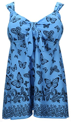 Women's Plus Size Swimsuit Floral Butterfly Printed Swimdress Two Piece Tankini Butterfly in Blue US 24-26W