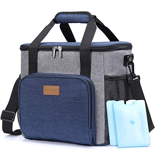 Lifewit Insulated Large Lunch Bag Lunch Box for Men Adults, 17L (24-Can) Cooler Bag Soft Cooler for School/Work, Blue [with 2 Ice Packs]