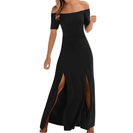 3f985159 Women Summer Off Shoulder Short Sleeve Bodycon Maxi Dress Casual Beach  Solid Long Split Dresses at Amazon Women's Clothing store: