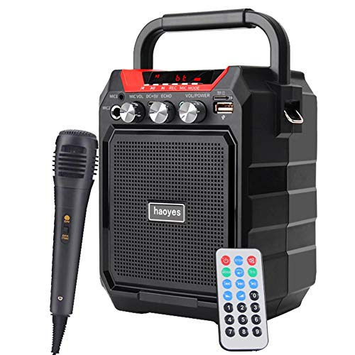 Portable PA System Bluetooth Speaker with Wired Microphone, Rechargeable Karaoke Machine with FM Radio, Audio Recording, Remote Control, Supports TF Card/USB, Perfect for Party