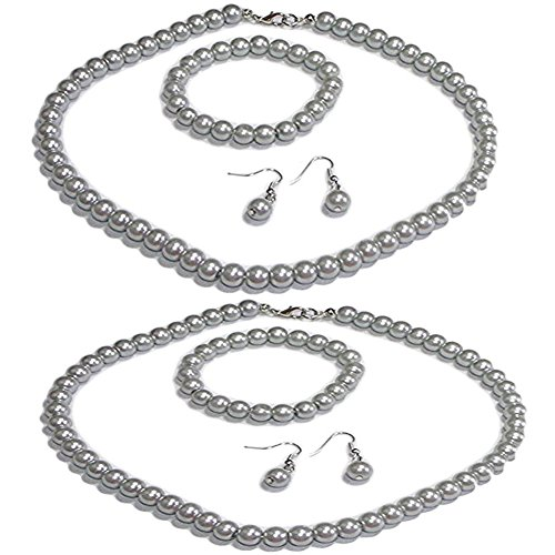 (V G S Eternity Fashions Fashion Jewelry ~ Gray Imitation Pearls Necklace Bracelet and Earrings Set of 2 Casual Formal for Women, Brides, Bridesmaids)