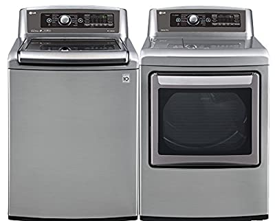 """LG Graphite Steel Top Load Laundry Pair with WT5680HVA 27"""" Washer and DLEX5780VE 27"""" Electric Dryer"""