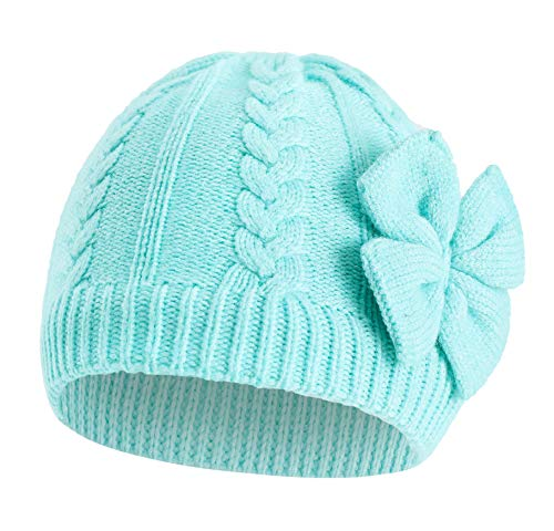 Jiaqee Baby Hat for Girls Winter Warm Knitted Beanie Cotton Lined Caps for Infant Toddler Girls Autumn Cute Bow Classic Green Large
