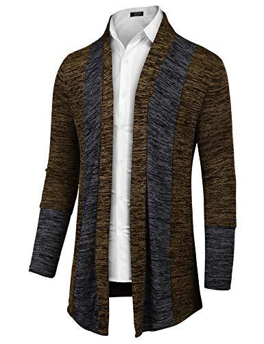 COOFANDY Men's Long Sleeve Knitted Sweater Shawl Ruffle Collar Long Length Cape Coat Cardigan(Coffee,L)