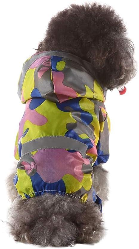 Smoro Cachorro de Lluvia para Mascotas al Aire Libre con Capucha Chaquetas Impermeables PU Impermeable Reflectante para Perros Gatos Ropa