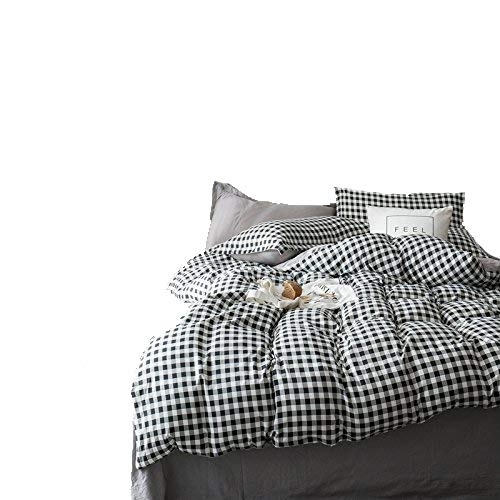 (KFZ Hydro Cotton Bed Set (Twin Full Queen King Size) [4 Piece: Duvet Cover, Flat Sheet, Pillow Cases] No Comforter DL Plaid Stripe Check Design Sheet Sets (Check, Multi, Queen 78