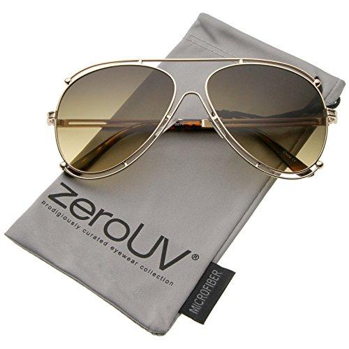 zeroUV - Modern Metal Border Frame Crossbar Gradient Lens Aviator Sunglasses 59mm (Gold / Grey-Fade) (Fade Frame Gold Lens)