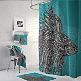 Rff Nordic High-grade Sanitary Partition Shower Curtain Waterproof Thickening Mildew Polyester Shower Curtain Hanging Curtain (Size : 180 * 200cm)