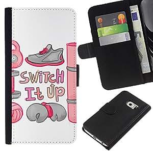 Samsung Galaxy S6 EDGE SM-G925 , la tarjeta de Crédito Slots PU Funda de cuero Monedero caso cubierta de piel ( Switch Motivational Workout Camping Quote)