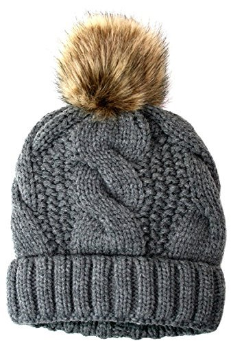 ANGELA & WILLIAM Women's Thick Cable Knit Beanie Hat with Soft Faux Fur Pom Pom - Gray