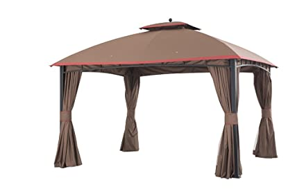 Sunjoy Large Mirage Gazebo With Netting And Curtain 12 By 10 Brown