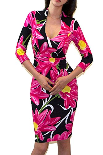 VIVICASTLE Women's Stylish Floral Printed 3/4 Sleeve Bodycon Dress (Small, F13, - Dresses Most Stylish