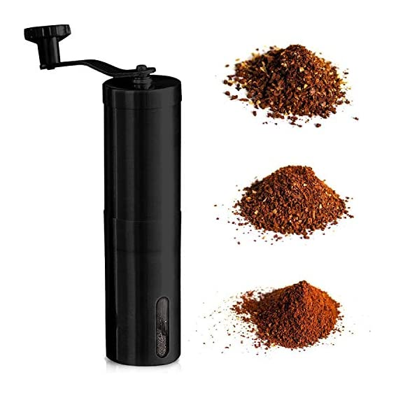 InstaCuppa Manual Coffee Grinder with Adjustable Setting - Conical Burr Mill & Brushed Stainless Steel - Burr Coffee