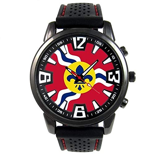 - FidgetGear St. Louis US City Flag Mens Style Black Silicone Band Quartz Wrist Watch S737F