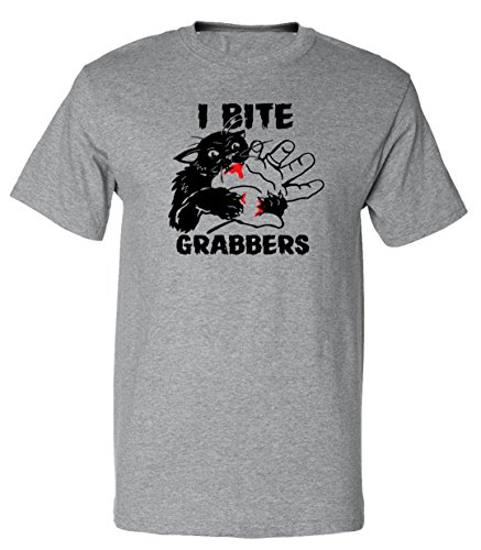- 51LT 2Bl5NtDL - Funny Cat Lovers I Bite Grabbers Graphic Design T-Shirt