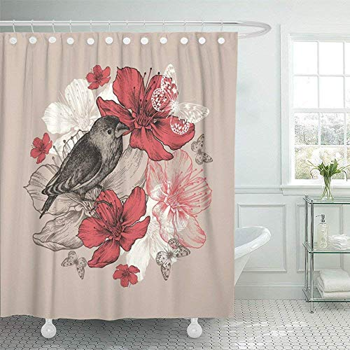 SPXUBZ Vintage Flower with Bird Butterfly and Flowering Apple Trees Blossom Ink Sketch Romance Pastel Spring Shower Curtain Waterproof Bathroom Decor Polyester Fabric Curtain Sets with Hooks