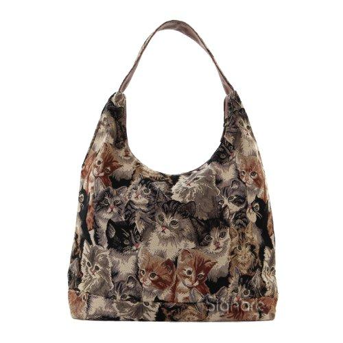 Signare Cat Print Ladies Tan Fashion Canvas Tapestry Top Zip Hobo Shoulder Bag Beach Bag (HOBO -CAT)