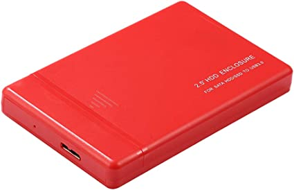 ポータブル外付けハードドライブディスク、USB3.0 2.5インチSATA HDDケースプラスチック+ケーブル高速データ転送ストレージ(赤) - 2TB