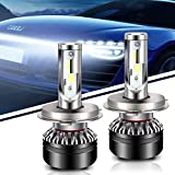 TURBOSII LED Headlight Bulbs All-in-One Conversion Kit - H4 (9003 HB2 Hi/Low),COB Chip 12000LM 6500K Cool White Halogen Or Hid Bulbs Replacements,1 Year Warranty,2PCS