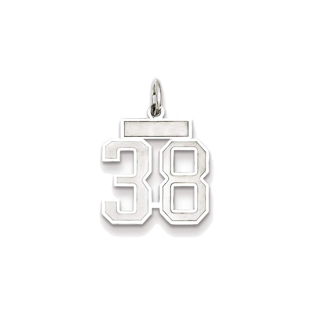 Sterling Silver Small Satin Number 38 Charm