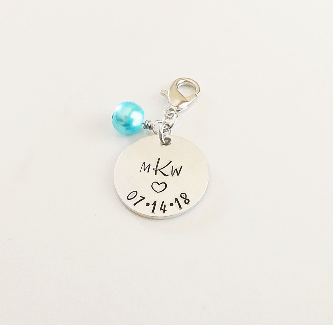 Personalized Monogram Bridal Bouquet Charm, Something New or Blue for Bride