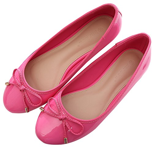 SAGUARO Womens Girls Ballet Flats with Bow Patent Leather Pumps Wedding Ballerina Flat Dress (Patent Leather Ballet Shoes)