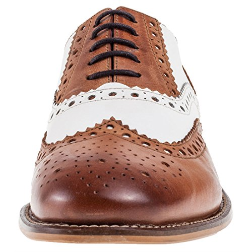 Uomo Tan White Leather Mocassino richelieu Pelle Brogues London Gatsby wIqS6pTY