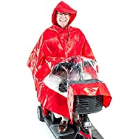 Rain Poncho Cape for Pride Electric Mobility Scooter Riders, lightweight, waterproof, hooded - J800 Red colour