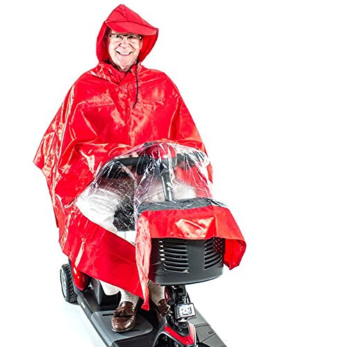 Challenger Mobility Rain Poncho Cape, Red
