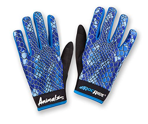 RocRide Animalz Cycling Gloves Blue Viper. Full-Fingered with Screen Compatible Tips. Mountain Biking, Road and BMX. Expressive Animal Print Designs. (Blue Viper, Mens - Gloves Cycling Full Fingered