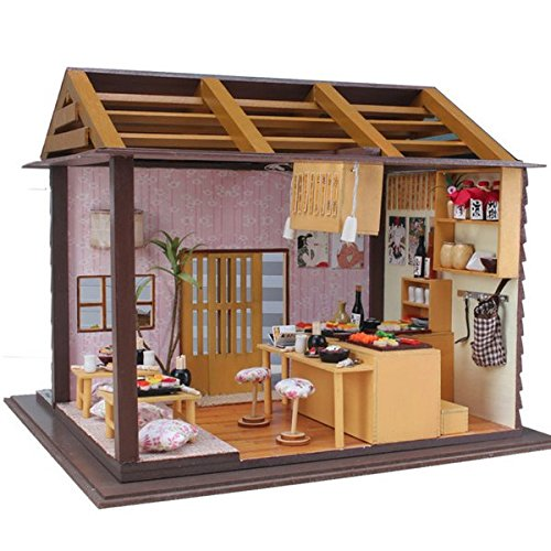 New Hoomeda DIY Wood Dollhouse Miniature With LED+Furniture+Cover Sushi Bar By KTOY